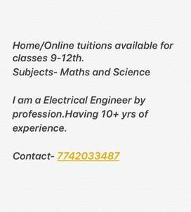 Home/Online Tuitions for Maths and Science(Standard 9-12)