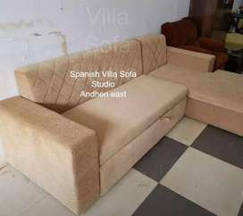 L shape  sofa cum bed with 500 choice of fabrics and designs