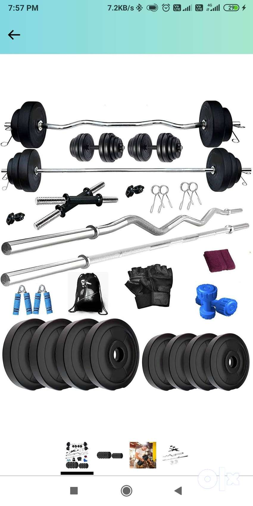 BodyFit B-Deluxe Home Gym Set PVC 40 kg Weight Plates, 4 Rods Exercise