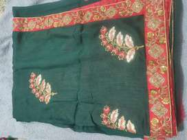 Green work saree with blouse