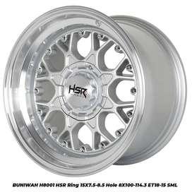 PROMO BUNGA 0% VELG BUNIWAH H8001 HSR R15X75/85 H8X100-114,3 ET18/15 S
