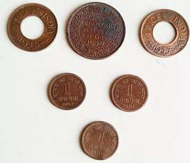 6 old indian coins