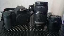 Canon EOS 60D lensa kit & Canon Lensa Zoom 55-250mm