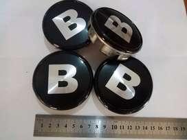 Dop Velg Brabus B Diameter Topi 7.5 Kaki 7.2 Cm Hitam Silver