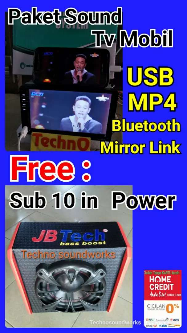 Paket sound bass 10 in power + TV 7 inch YouTube usb mp4 doubledin 0