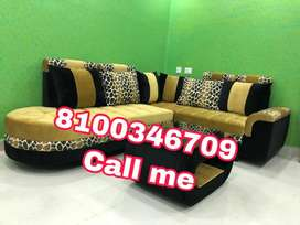 Green n black fabric sofa