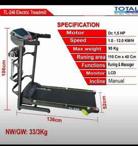 Treadmil listrik motor 1,5Hp manual incline murah