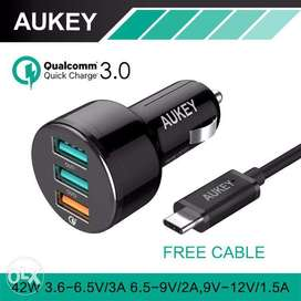 4AUKEY Quick Charger 3.0 USB 3 Ports Car Charger with USB A to C Cable