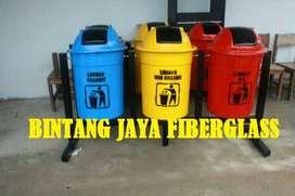 bak sampah atau tong sampah bulat 3 pila, tempat sampah