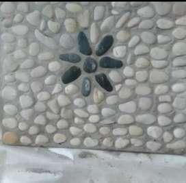 Batu steping kotak art bunga
