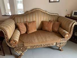 Golden Wooden Brown Sofa 2 seater