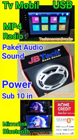 Paket sound sub woofer 10 in power + tv mobil YouTube head usb mp4