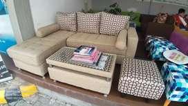 Sofa Minimalis L Ruang Kecil Murah + Meja ,Mitra Sofa Ramayana Dpsr