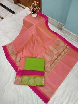 Fansy cotton soft saree pure masrize Rs 500 h bhai