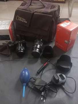 Borongan / Satuan, sony a6000 + lensa f 1.8 50mm + E pz 18-105 + bonus
