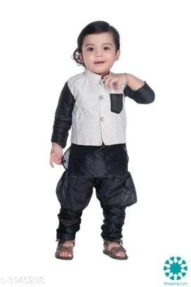Ethnic Fancy Silk Cotton Blend Kurta Kid's Boys Pyjama Set(free cod )