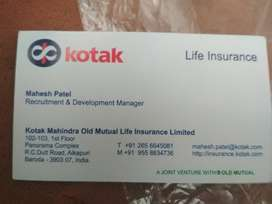 Required life advisor in kotak life Baroda