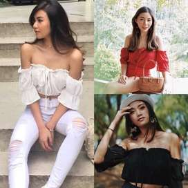HANNAH Sabrina / Tied Top Crop Atasan Pendek Tali Tumblr Off Shoulder