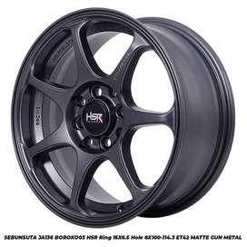 velg mobil hsr wheels type SEBUNSUTA R15X65 PCD4X100/114 GREY DOP
