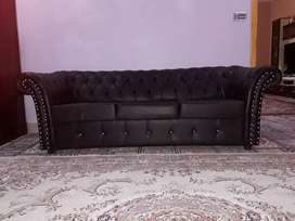5 seater sofa set brown colour leather sofa set A1 condition