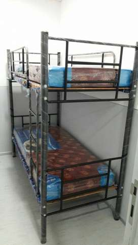 Black Metal Bunk Bed with matress own manufacturing factory