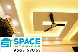 INTERIOR WORKS GYPSUM CEILING MODULAR KITCHEN ALUMINIUM FABRICATION