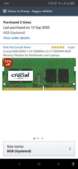 Crucial 8GB DDR4 RAM for Laptops (New)