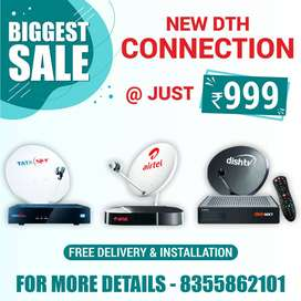 TATA SKY,AIRTEL,DISH TV HD connection with 24*7 service from seller .
