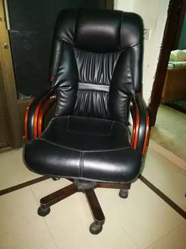 Office revolving leather chair and table