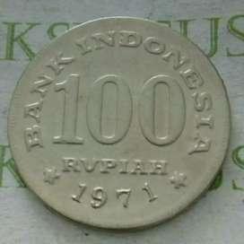 koin 100 rupiah tebal uka2 th 1971.