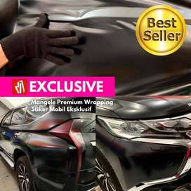 Mangele Stiker mobil Hitam doff Wrapping sticker Pajero Fortuner max