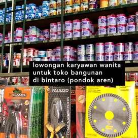 Admin dan Karyawan Toko Bangunan / Karyawan Wanita Bintaro Pondok Aren