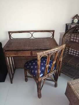 Cane Study table, chair, book shelve and trunk