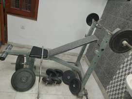 Home gym equipment with foldable bench