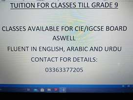 TUITION FOR CLASS TILL GRADE 9