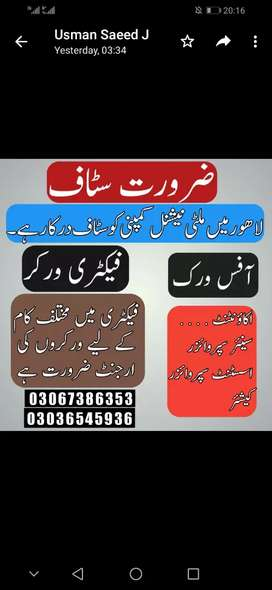 B. Com requiresd in multinational compni Lahore