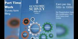Part / Fulll time work Filling survey form for economic census