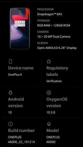 OnePlus6 excellent condition With bill, box and original charger.