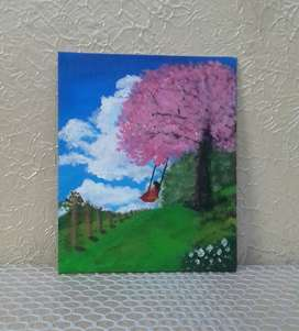 Scenary of a Little Girl Swing on a Cherry Blossom Tree | Painting