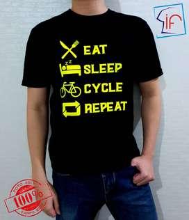 Kaos Tema Sepeda Eat Sleep Cycle Repeat