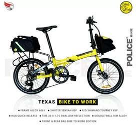Sepeda lipat Police texas b2w kuning