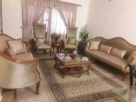 Pure Wooden Sofa set, tables, curtains, chairs and carpet for sale