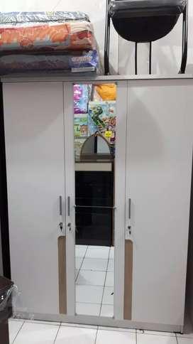 Lemari Pakaian 3P Putih Cermin Panjang -COD- Gratis Ongkir Makassar