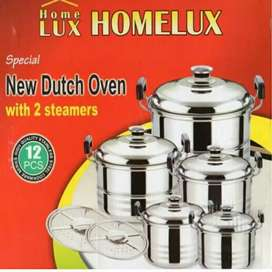 Panci Set Steamer Homelux Tutup Stainless