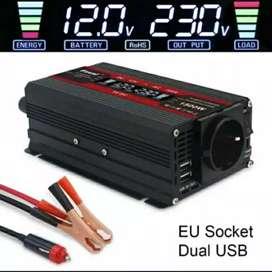 Power Inverter 1500W EU socket Hitam & Merah LCD, DC 12V ke AC 23OV