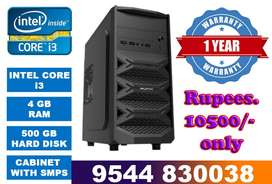 Intel core i3 computer cpu with 1 year warranty(4 gb ram / 500 gb hdd)
