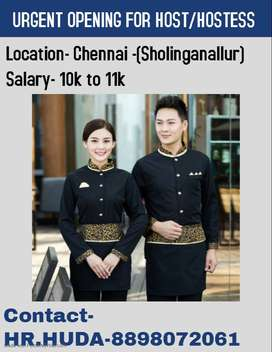 URGENT OPENING FOR HOSTESS AT CHENNAI