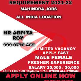 OFFICE WORK JOBS AVAILABLE IN AUTOMOBILE DEPARTMENT IN MAHINDRA MOTOR