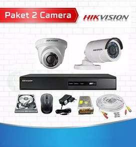 Paket lengkap 2 camera cctv Hikvision 2 Mp Gratis pasang.