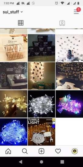 Lampu tumblr biru, putih, rainbow, gold